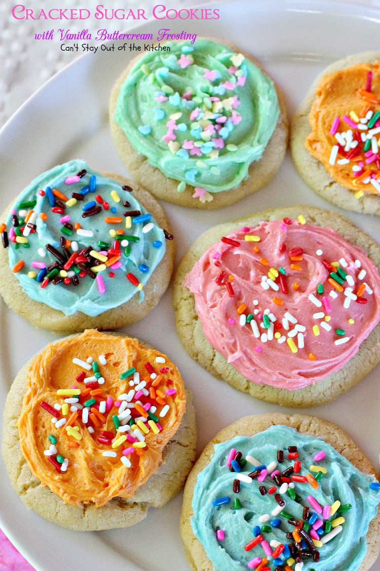 Cracked Sugar Cookies with Vanilla Buttercream Frosting