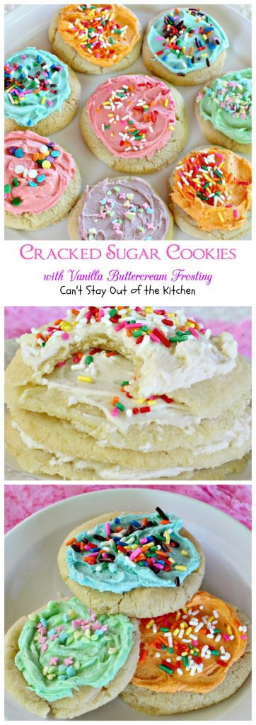 Cracked Sugar Cookies with Vanilla Buttercream Frosting | Can't Stay Out of the Kitchen