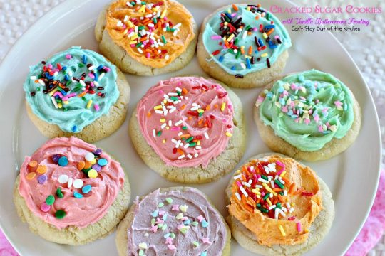 Cracked Sugar Cookies with Vanilla Buttercream Frosting | Can't Stay Out of the Kitchen | one of the most sensational #sugarcookies you will ever eat! #cookie #dessert
