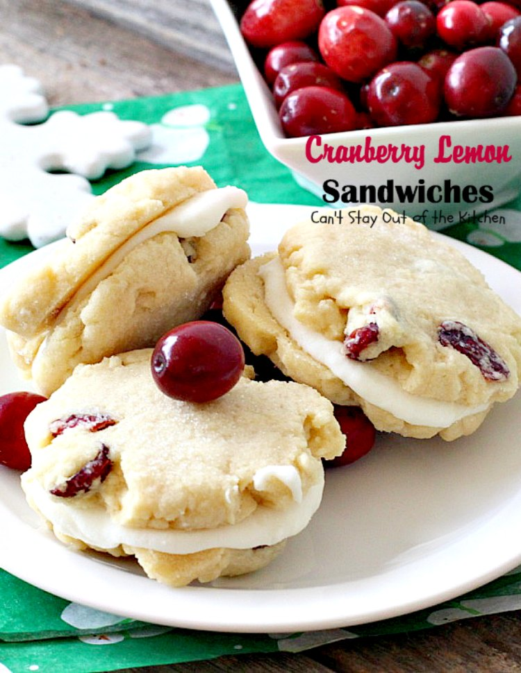 Cranberry Lemon Sandwiches | Can't Stay Out of the Kitchen | these fantastic #cookies are perfect for the #holidays. They use #craisins & #lemon zest. The icing is heavenly. #dessert