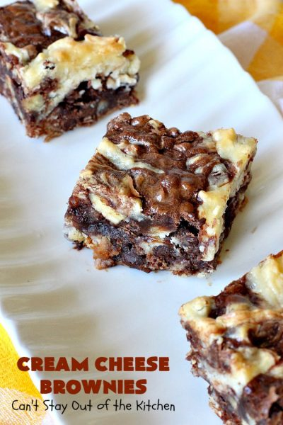 Cream Cheese Brownies | Can't Stay Out of the Kitchen | This is our favorite #brownie #recipe ever! The #CreamCheese layer includes #coconut & the brownie layer includes #ChocolateChips & #pecans. Swirled together these are absolutely decadent! Terrific for #tailgating parties or summer #holiday fun like #FourthOfJuly or #LaborDay. #dessert #HolidayDessert #ChocolateDessert #CreamCheeseDessert #cookie #CreamCheeseBrownies