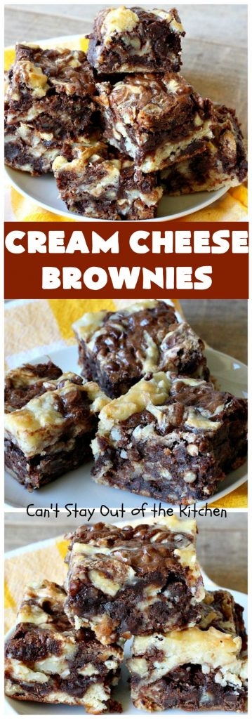 Cream Cheese Brownies | Can't Stay Out of the Kitchen | This is our favorite #brownie #recipe ever! The #CreamCheese layer includes #coconut & the brownie layer includes #ChocolateChips & #pecans. Swirled together these are absolutely decadent! Terrific for #tailgating parties or summer #holiday fun like #FourthOfJuly or #LaborDay. #dessert #HolidayDessert #ChocolateDessert #CreamCheeseDesserr #cookie #CreamCheeseBrownies