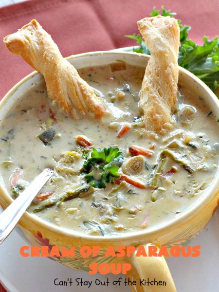 Cream of Asparagus Soup | Can't Stay Out of the Kitchen | This delicious #soup is perfect comfort food for #fall. We love this easy recipe made in the #crockpot. #asparagus #carrots #glutenfree