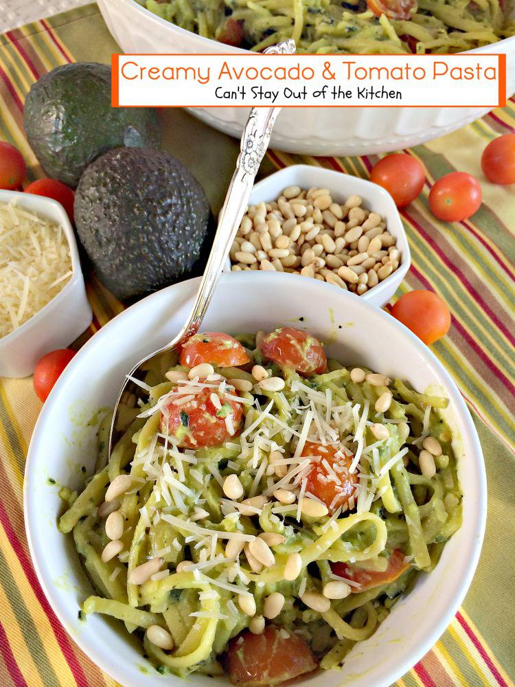 Creamy Avocado and Tomato Pasta | Can't Stay Out of the Kitchen | love this tasty #pasta dish. #glutenfree #meatlessmondays #tomatoes #avocados