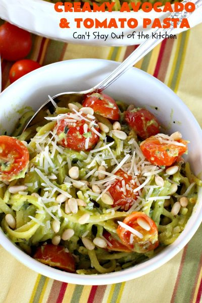 Creamy Avocado and Tomato Pasta | Can't Stay Out of the Kitchen | this easy and delightful #pasta #recipe is utterly amazing. The #Basil & #avocado sauce makes this dish fantastic. It also includes #tomatoes, #PineNuts & #ParmesanCheese. This is totally awesome for #MeatlessMondays or on days when you're short on time. I used #GlutenFree #noodles but you can use any kind. #cheese #GlutenFreeMainDish #CreamyAvocadoAndTomatopasta