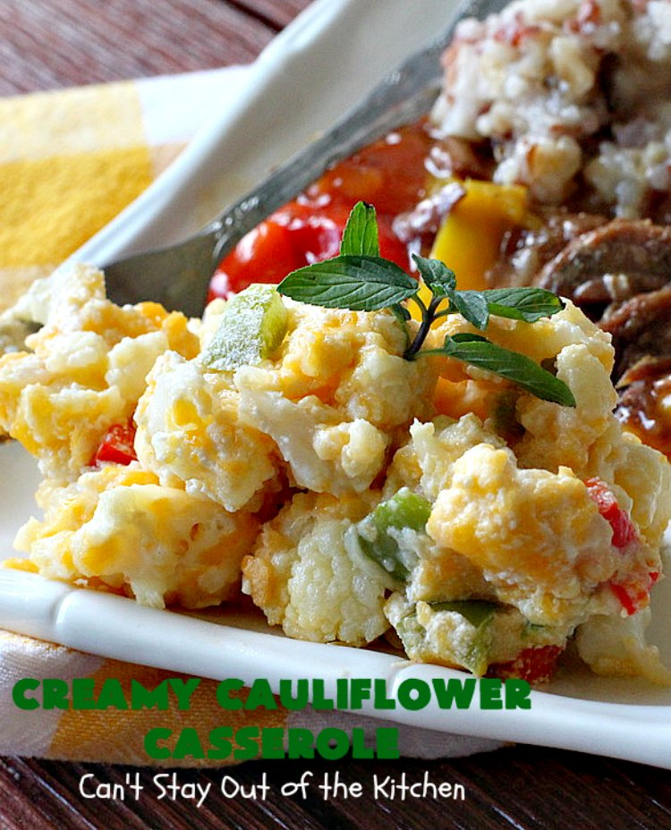Creamy Cauliflower Casserole | Can't Stay Out of the Kitchen | this outrageously good #casserole is the perfect #SideDish for #holiday menus like #Thanksgiving or #Christmas. It's filled with #CheddarCheese, #ParmesanCheese & includes #RitzCrackers in the dish. Every bite is so mouthwatering. Even picky palates will love #cauliflower made this way. #GooseberryPatch #CreamyCauliflowerCasserole