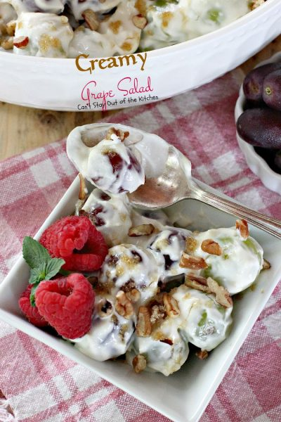 Creamy Grape Salad | Can't Stay Out of the Kitchen | this fabulous #fruit #salad is great for #holidays, picnics or company. Quick and easy. #glutenfree #grapes