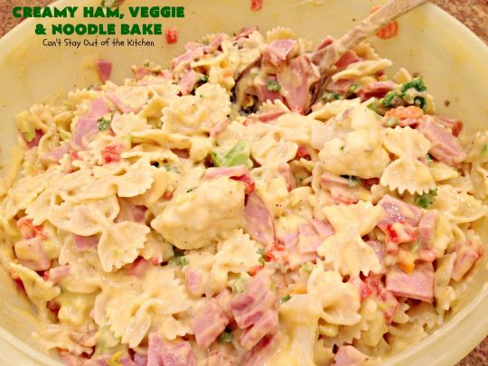 Creamy Ham, Veggie and Noodle Bake | Can't Stay Out of the Kitchen | this cheesy #ham entree has been a family favorite for years. It's filled with lots of #veggies & #pasta. Truly one of our favorite comfort foods. Great way to use up leftover ham from the #holidays too. #HamCasserole #noodles #casserole