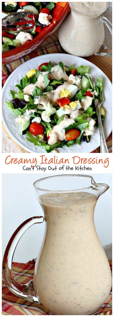 Creamy Italian Dressing | Can't Stay Out of the Kitchen | this is one of the BEST #saladdressings I've ever eaten. It is absolutely delicious, and so quick and easy to make. #salad #glutenfree