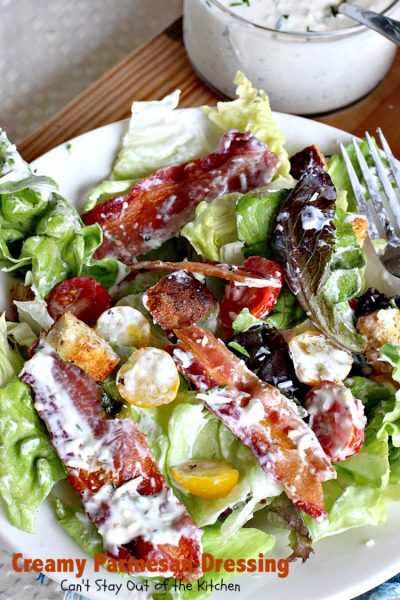 Creamy Parmesan Dressing | Can't Stay Out of the Kitchen | this fabulous #saladdressing is so quick & easy to make. Delicious flavor & texture. Great served with BLT #salad! #glutenfree #parmesan
