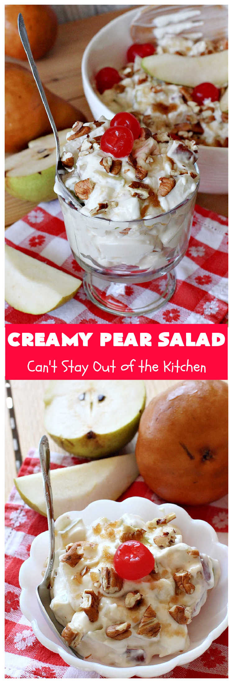 Creamy Pear Salad | Can't Stay Out of the Kitchen | this delectable #fruit #salad is so quick & easy to make up. It's terrific for company or #holiday dinners since it can be made in advance. #pears #CreamCheese #salad #CreamyPearSalad #FruitSalad