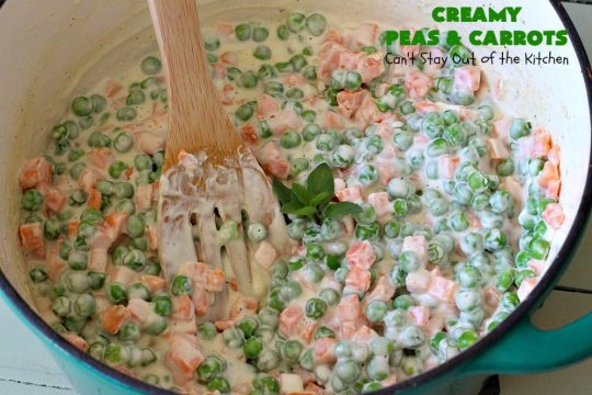 Creamy Peas and Carrots | Can't Stay Out of the Kitchen | this quick & easy #recipe can be ready to serve in 10 minutes! It's mouthwatering & sumptuous. It's also wonderful for weeknight meals when you're in a hurry. Great for #holiday dinners like #Thanksgiving or #Christmas too. #Peas #carrots #GlutenFree #CreamyPeasAndCarrots #HolidaySideDish #GlutenFreeSideDish #CreamCheese