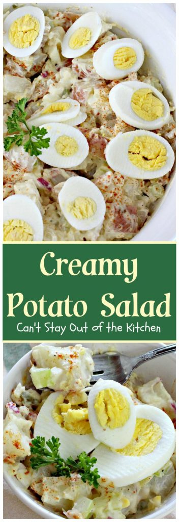 Creamy Potato Salad | Can't Stay Out of the Kitchen | This is our favorite #potatosalad recipe. Great for #MemorialDay & other summer #holiday fun. #potatoes #eggs #glutenfree