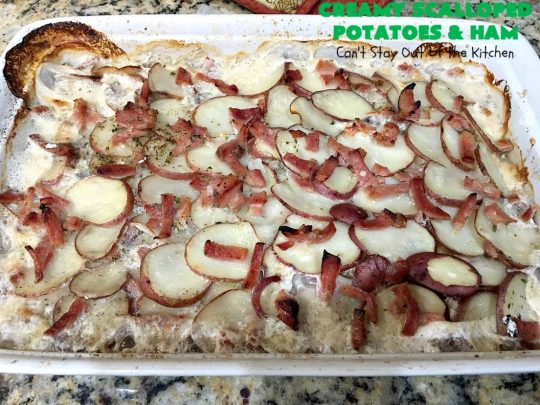 Creamy Scalloped Potatoes and Ham | Can't Stay Out of the Kitchen | this easy & delicious #casserole is a terrific way to use up leftover #ham from the #holidays. The ingredients are layered. You don't have to pre-make the sauce. This family favorite #recipe is wonderful comfort food especially in cold, winter months. #potatoes #pork #HamandScallopedPotatoes #ScallopedPotatoes