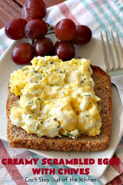 Creamy Scrambled Eggs with Chives | Can't Stay Out of the Kitchen | this outstanding #GooseberryPatch #recipe is marvelous for a weekend, company or #holiday #breakfast. #ScrambledEggs are filled with #CreamCheese & chives. Then served over toast. These creamy #eggs are easy to prepare & so delicious. #brunch #HolidayBreakfast #CreamyScrambledEggsWithChives
