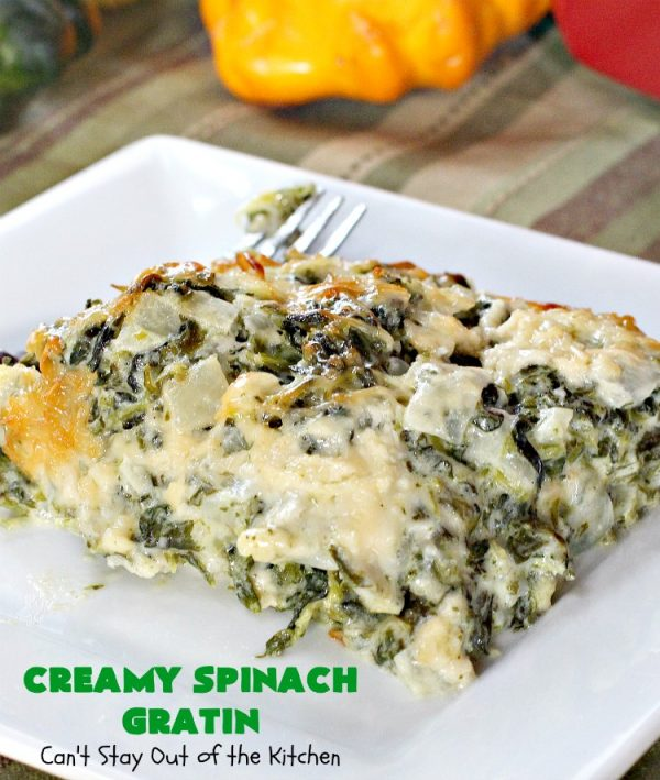 Creamy Spinach Gratin | Can't Stay Out of the Kitchen | this is my favorite #spinach #casserole. It's thick, creamy & uses #parmesan & #gruyere #cheese. It's terrific for #holidays like #Thanksgiving or #Christmas. This recipe will make a spinach lover out of you!