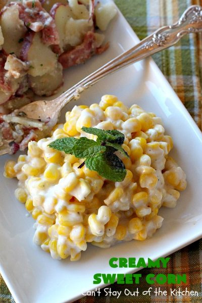 Creamy Sweet Corn | Can't Stay Out of the Kitchen | This fantastic #corn dish takes 10 minutes to make & is one of the best you'll ever eat. Tastes a lot like #RudysBBQ #creamedcorn. Everyone raves over this #sweetcorn dish. #glutenfree #SideDish #vegetable #CreamCheese