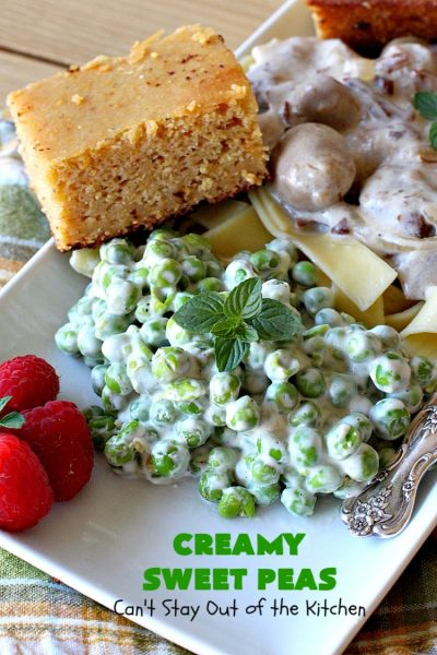 Creamy Sweet Peas | Can't Stay Out of the Kitchen | this fantastic #SideDish can be made up in about 10 minutes. It's so quick & easy for weeknight meals when you're pressed for time. It's also a great side for company or #holiday meals like #Christmas or #Thanksgiving. #GlutenFree #Peas #CreamedSweetPeas #CreamCheese