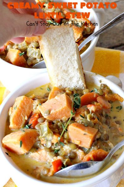 Creamy Sweet Potato Lentil Stew | Can't Stay Out of the Kitchen | this delicious #stew is healthy, #glutenfree & easily #vegan if you substitute coconut milk for the cream. It's hearty, filling and satisfying comfort food that's big on taste & wonderful for winter. #soup #lentils #sweetpotatoes