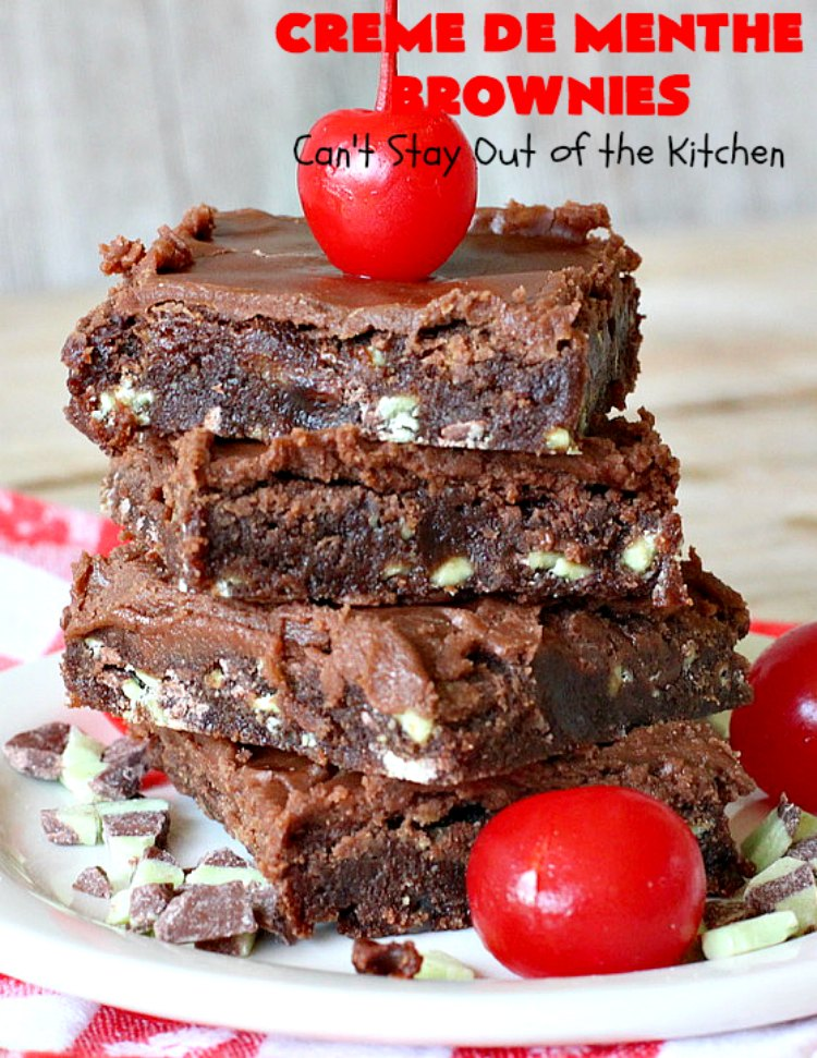 Creme De Menthe Brownies | Can't Stay Out of the Kitchen | these amazing #brownies include #chocolate & #CremeDeMenthe baking chips. They're topped with a luscious #fudge frosting. Perfect for #holiday #baking, #tailgating parties or a #ChristmasCookieExchange. #dessert #ChocolateDessert #HolidayDessert #cookie #CremeDeMentheBrownies