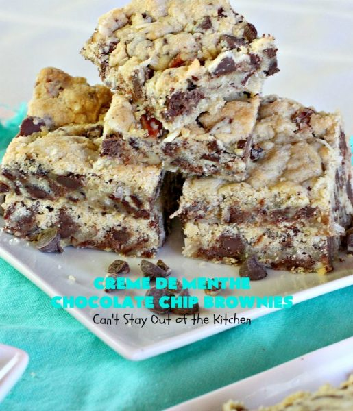 Creme De Menthe Chocolate Chip Brownies | Can't Stay Out of the Kitchen | these spectacular #brownies are #chocolate on steroids! They are rich, decadent and so heavenly. Every bite is filled with #ChocolateChips & #Andes #CremeDeMenthe baking chips. Delightful for #tailgating parties or #ChristmasCookieExchanges. #dessert #ChocolateDessert #MintDessert #CremeDeMentheDessert #Holiday #AndesCremeDeMentheBakingChips #HolidayDessert