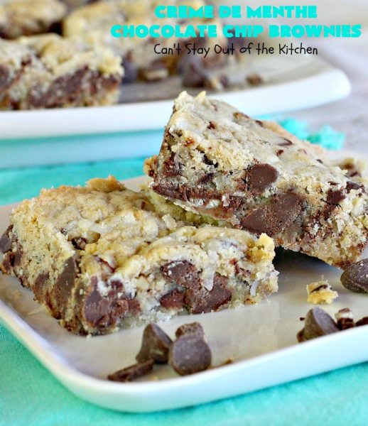 Creme De Menthe Chocolate Chip Brownies   Can't Stay Out of the Kitchen   these spectacular #brownies are #chocolate on steroids! They are rich, decadent and so heavenly. Every bite is filled with #ChocolateChips & #Andes #CremeDeMenthe baking chips. Delightful for #tailgating parties or #ChristmasCookieExchanges. #dessert #ChocolateDessert #MintDessert #CremeDeMentheDessert #Holiday #AndesCremeDeMentheBakingChips #HolidayDessert