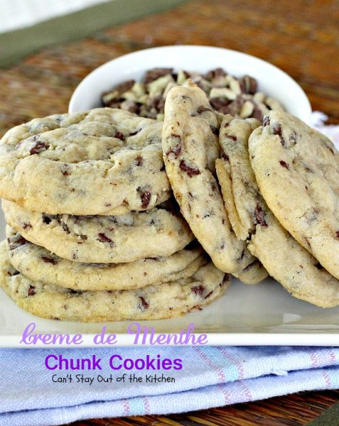 Creme de Menthe Chunk Cookies | Can't Stay Out of the Kitchen | spectacular #cookies made with #Andes #CremedeMenthe baking chips. #dessert #chocolate