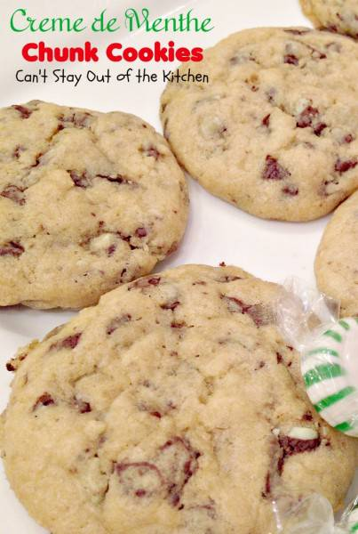Creme de Menthe Chunk Cookies | Can't Stay Out of the Kitchen | scrumptious #cookies made with #Andes #cremedementhe baking chips. Rich #chocolate and #mint flavors. Wonderful #holiday #baking recipe. #dessert