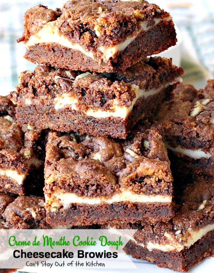 Creme de Menthe Cookie Dough Cheesecake Brownies | Can't Stay Out of the Kitchen | these scrumptious #brownies are to die for! They have a luscious #cheesecake layer and are filled with #cremedementhe baking chips for a delectable minty taste. Love these. #dessert