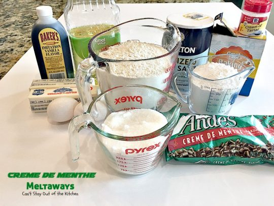 Creme de Menthe Meltaways | Can't Stay Out of the Kitchen | these fabulous melt-in-your-mouth #cookies use #Andes #cremedementhe baking chips. Awesome for #holidays or #StPatricksDay. #dessert #chocolate