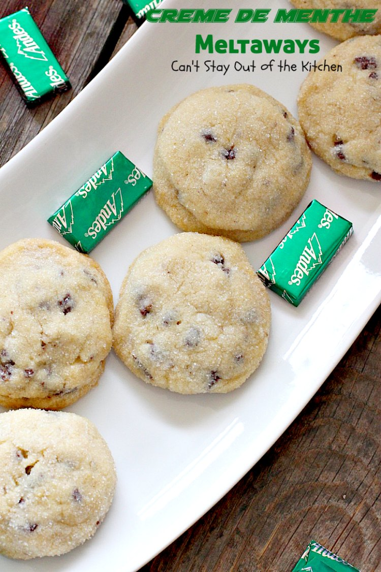 Creme de Menthe Meltaways   Can't Stay Out of the Kitchen   these fabulous melt-in-your-mouth #cookies use #Andes #cremedementhe baking chips. Awesome for #holidays or #StPatricksDay. #dessert #chocolate