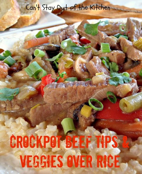 Crockpot Beef Tips and Veggies Over Rice | Can't Stay Out of the Kitchen