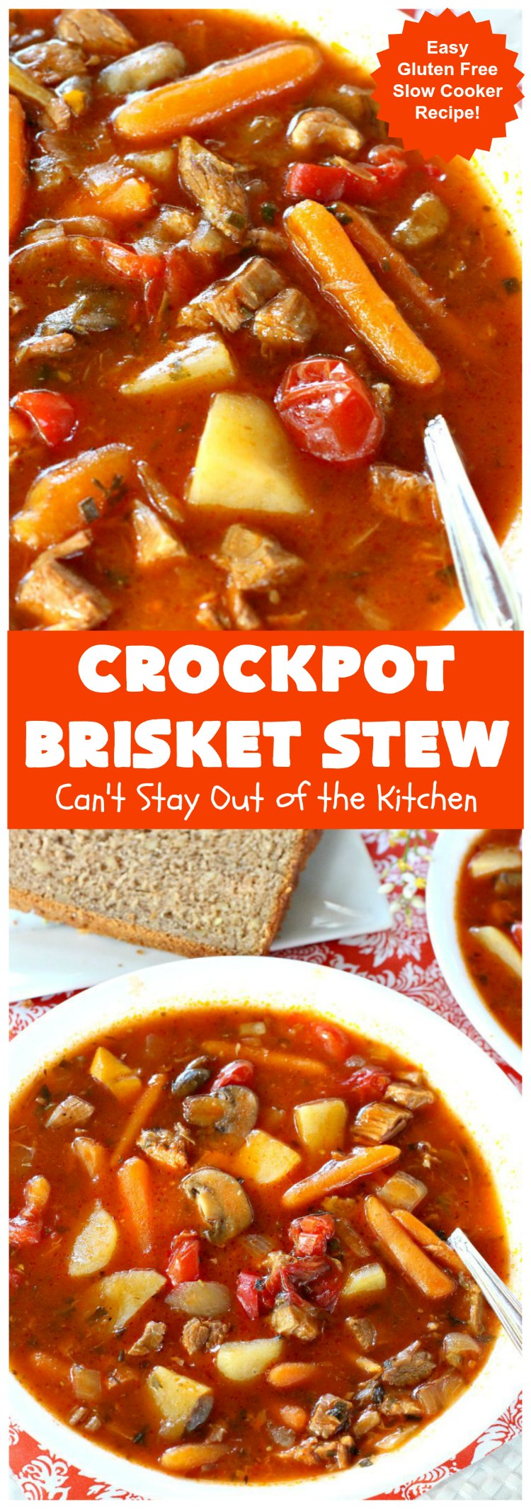 Crockpot Brisket Stew | Can't Stay Out of the Kitchen | This #recipe is so easy since everything is tossed into the #crockpot. It's an excellent way to use leftover #brisket. #SlowCooker #stew #CrockpotBrisketStew #GlutenFree