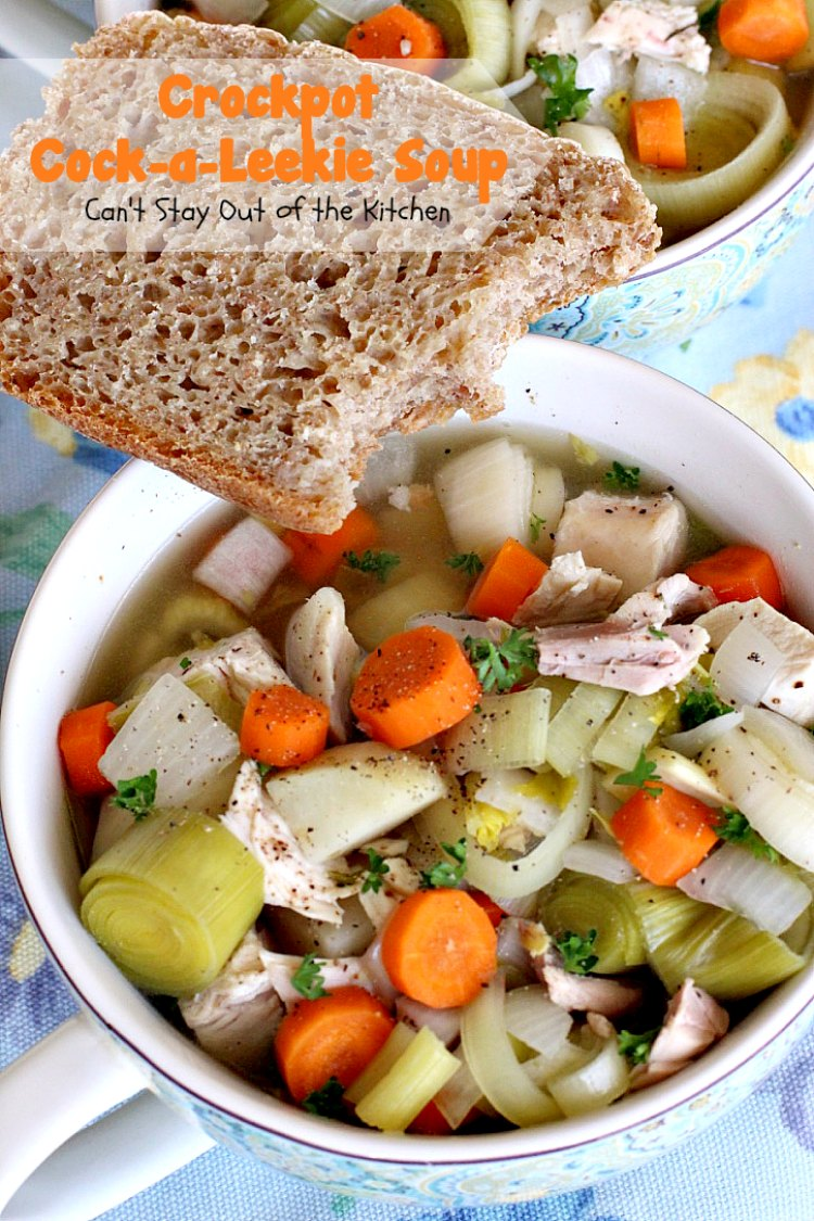 Crockpot Cock-a-Leekie Soup | Can't Stay Out of the Kitchen | delicious & easy #soup made in the #crockpot. Great way to use up leftover #turkey, too. #glutenfree #chicken #leeks