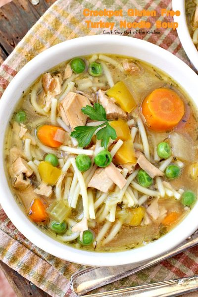 Crockpot Gluten Free Turkey Noodle Soup | Can't Stay Out of the Kitchen | this #soup turned out fantastic. Used leftover #turkey & broth & made it in the #crockpot. #glutenfree