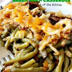 Crockpot Green Bean Casserole   Can't Stay Out of the Kitchen   this fantastic #greenbean #casserole is NOT the traditional #recipe. This one is SO much better! It uses #cheddarcheese #waterchestnuts & cream of celery soup along with #FrenchFriedOnions. The flavors are marvelous. Perfect for #holidays like #Thanksgiving or #Christmas.