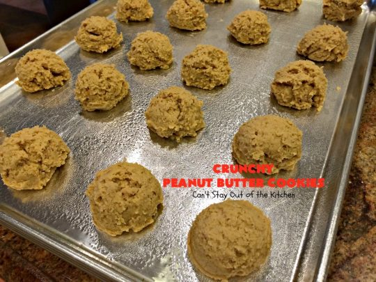 Crunchy Peanut Butter Cookies | Can't Stay Out of the Kitchen | these luscious whopper-sized #PeanutButterCookies are fantastic. Every bite will knock your socks off. Plus they're easy to make & turn out perfectly each time. #tailgating #cookies #PeanutButter #dessert #PeanutButterDessert #CrunchyPeanutButterCookies