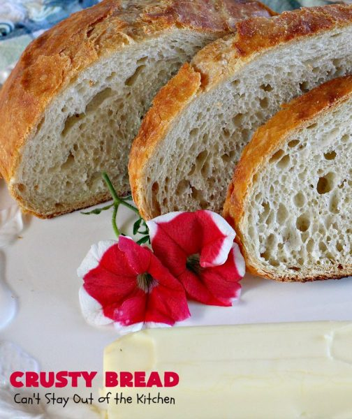 "Crusty Bread | Can't Stay Out of the Kitchen | this easy ""No-Knead"" #bread is fantastic. It uses only 4 ingredients so it's incredibly inexpensive. Terrific Artisan type bread for any dinner meal. #vegan #CrustyBread #NoKneadBread #VeganBread #ArtisanBread"