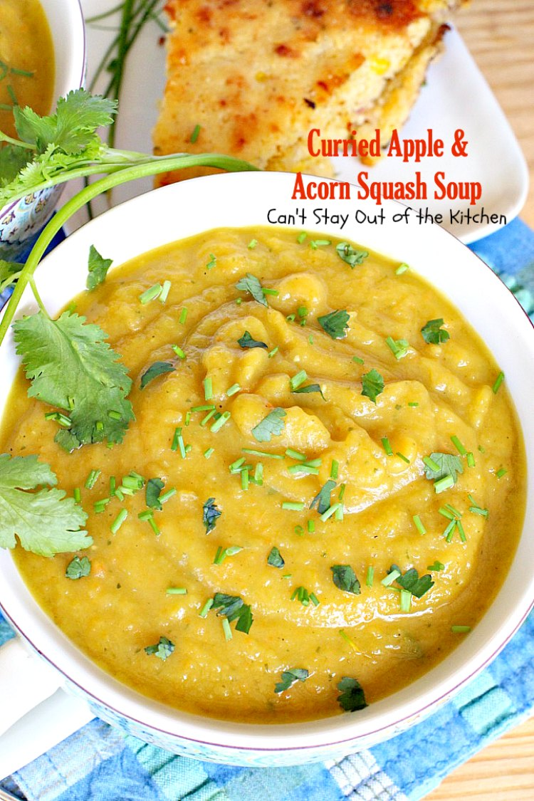 Curried Apple and Acorn Squash Soup | Can't Stay Out of the Kitchen | this mildly hot & spicy #soup is so delicious. #Apples & #acornsquash make it an incredibly tasty comfort food.