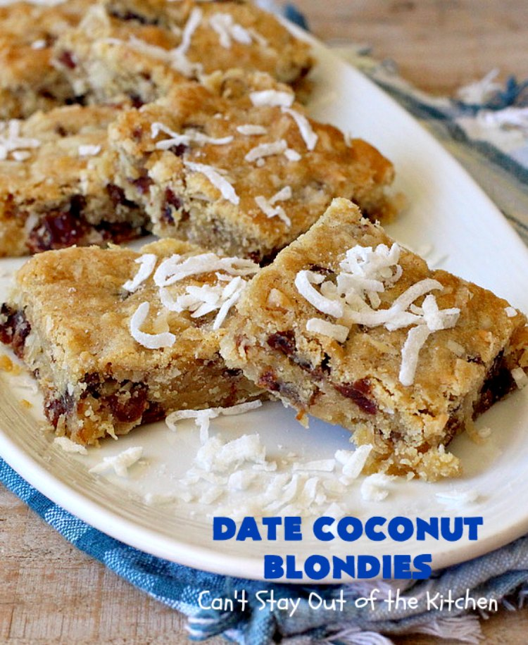 Date Coconut Blondies | Can't Stay Out of the Kitchen | these fantastic #cookies will knock your socks off! If you enjoy #dates & #coconut, this delicious #dessert is perfect for #tailgating parties, potlucks or soccer practice. Every bite will have you drooling! #DateCoconutBlondies