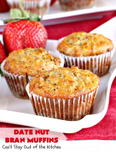Date Nut Bran Muffins   Can't Stay Out of the Kitchen   this fantastic #BranMuffin batter can stay refrigerated for up to 6 weeks! You can have fresh homemade #muffins without all the fuss and enjoy them weekly. These are great to make for company, #holidays or when you're cooking for a crowd. Every bite is heavenly. #AllBran #BranFlakes #dates #pecans #breakfast #DateNutBranMuffins #HolidayBreakfast #Thanksgiving #fall #Christmas #FallBaking #baking #recipe