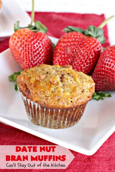 Date Nut Bran Muffins | Can't Stay Out of the Kitchen | this fantastic #BranMuffin batter can stay refrigerated for up to 6 weeks! You can have fresh homemade #muffins without all the fuss and enjoy them weekly. These are great to make for company, #holidays or when you're cooking for a crowd. Every bite is heavenly. #AllBran #BranFlakes #dates #pecans #breakfast #DateNutBranMuffins #HolidayBreakfast #Thanksgiving #fall #Christmas #FallBaking #baking #recipe