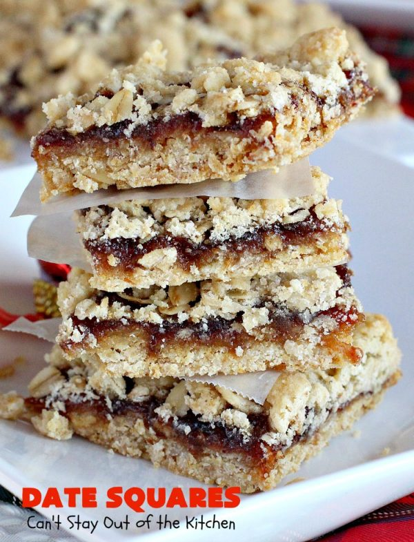 Date Squares   Can't Stay Out of the Kitchen   these classic #Christmas #cookies are wonderful for #holiday #baking. They're also terrific for #ChristmasCookieExchanges. Everyone loves them. #dates #dessert #ChristmasDessert #HolidayDessert