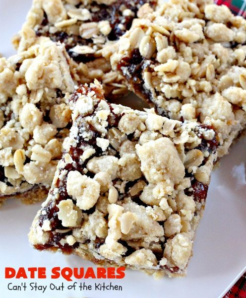 Date Squares | Can't Stay Out of the Kitchen | these classic #Christmas #cookies are wonderful for #holiday #baking. They're also terrific for #ChristmasCookieExchanges. Everyone loves them. #dates #dessert #ChristmasDessert #HolidayDessert