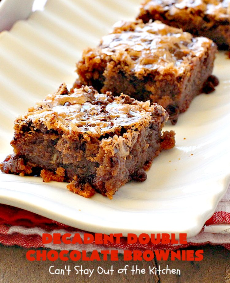Decadent Double Chocolate Brownies | Can't Stay Out of the Kitchen | these decadent #brownies just dissolve in your mouth. They are so awesome & the perfect #dessert for summer #holiday fun, backyard barbecues or potlucks. #Ghirardelli #chocolate