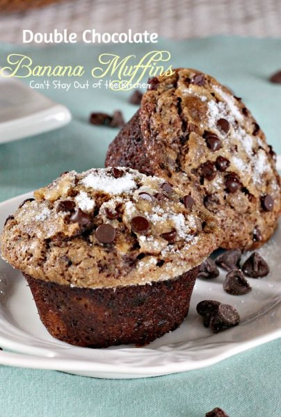 Double Chocolate Banana Muffins | Can't Stay Out of the Kitchen | these fabulous #breakfast #muffins have double the #chocolate flavor and sprinkled with sugar.