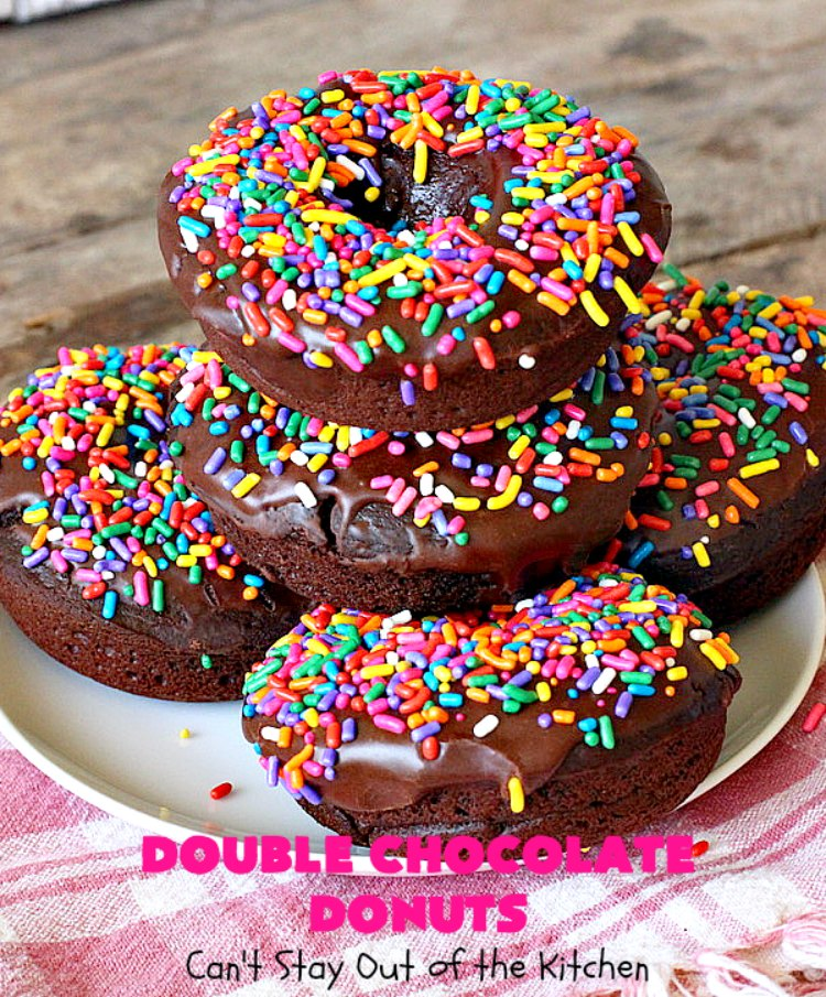 Double Chocolate Donuts | Can't Stay Out of the Kitchen | these #chocolate #donuts are irresistible & perfect for a #holiday #breakfast like #Thanksgiving, #Christmas or #NewYearsDay. The chocolate icing & #sprinkles make them heavenly. #chocolatedonuts #holidaybreakfast #ChristmasBreakfast #ThanksgivingBreakfast