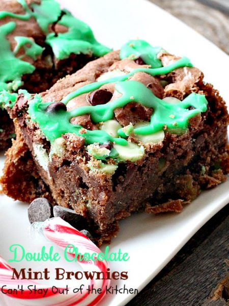 Double Chocolate Mint Brownies | Can't Stay Out of the Kitchen | these fabulous #brownies have double the #chocolate and mint flavor & are great to make for #Christmas or #St.Patrick'sDay. #dessert