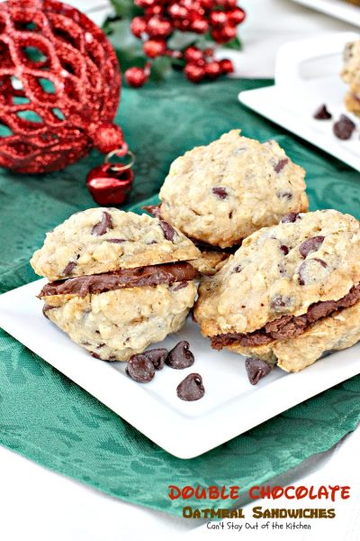 Double Chocolate Oatmeal Cookies | Can't Stay Out of the Kitchen | these amazing #oatmeal sandwich #cookies have double the #chocolate delight! The chocolate frosting is to die for! #dessert