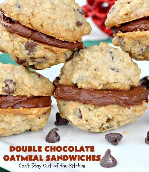 Double Chocolate Oatmeal Cookies | Can't Stay Out of the Kitchen | these spectacular #OatmealCookies feature #ChocolateChips in the #cookies and a #chocolate #fudge frosting sandwiched between to die for! Amazing #dessert for #holiday #ChristmasCookie baking. #ChristmasCookieExchange #FallBaking #DoubleChocolateOatmealSandwiches #ChocolateFudgeFrosting #HolidayDessert